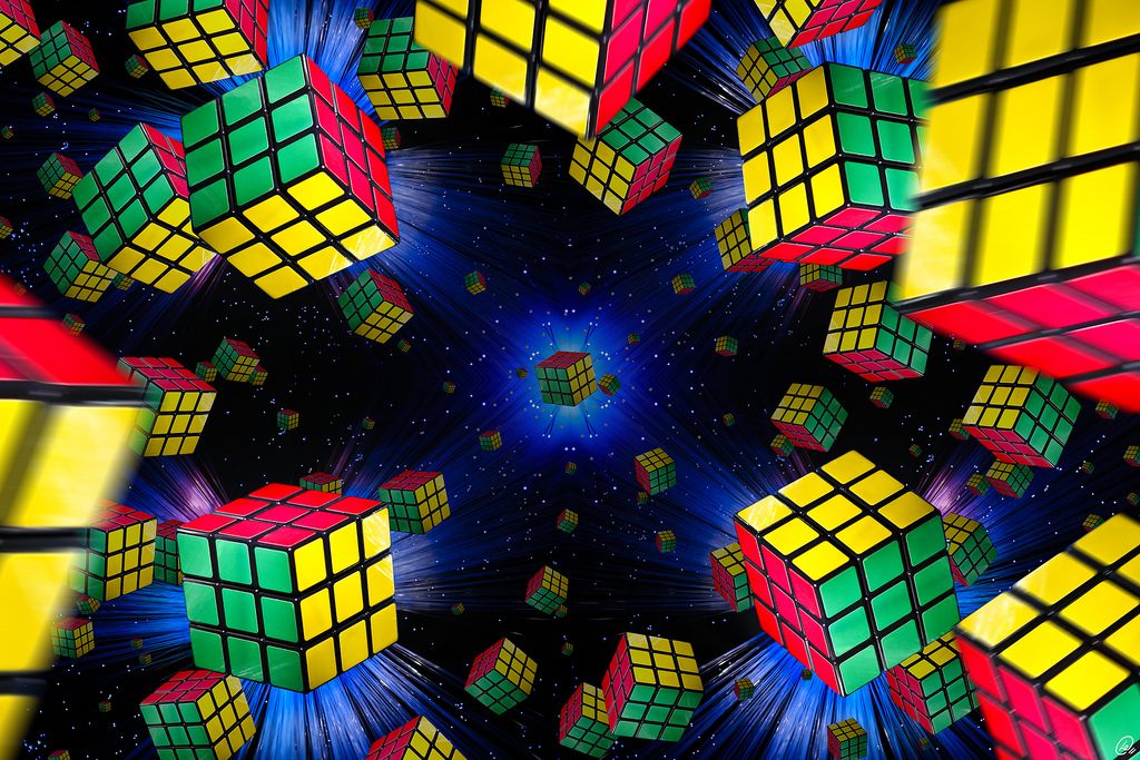 Rubix cubes floating across outer space
