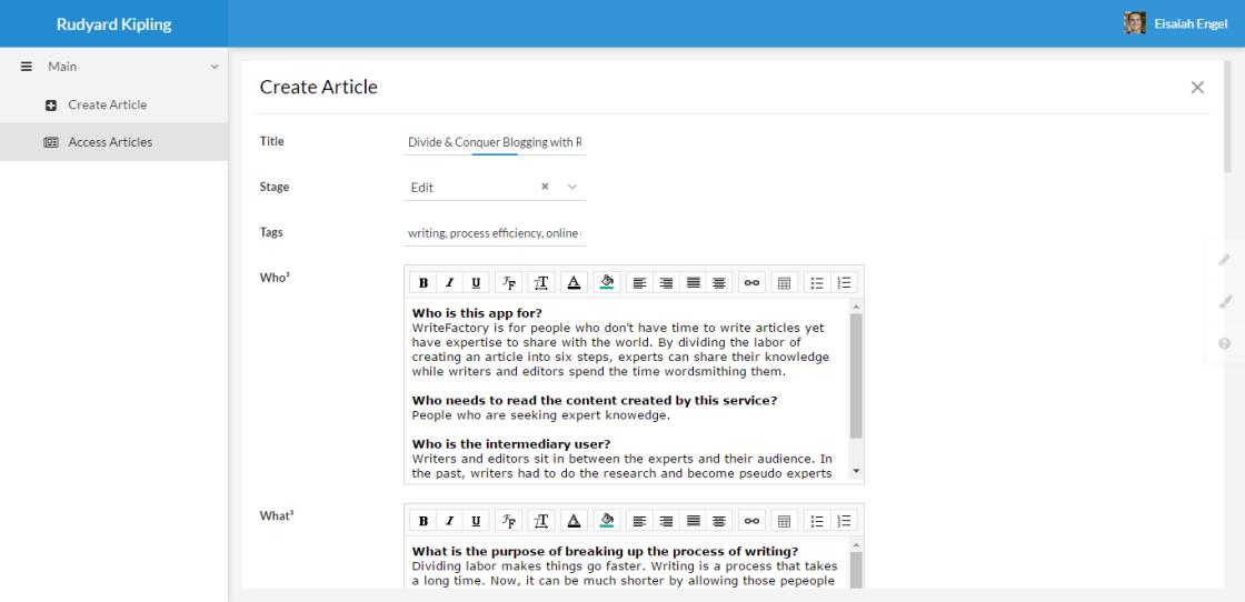 Rudyard Kipling writing app on Zoho Creator