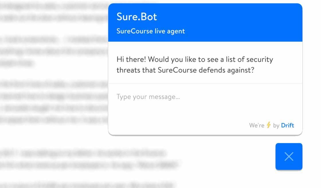 Screenshot. Chatbot grabs attention.