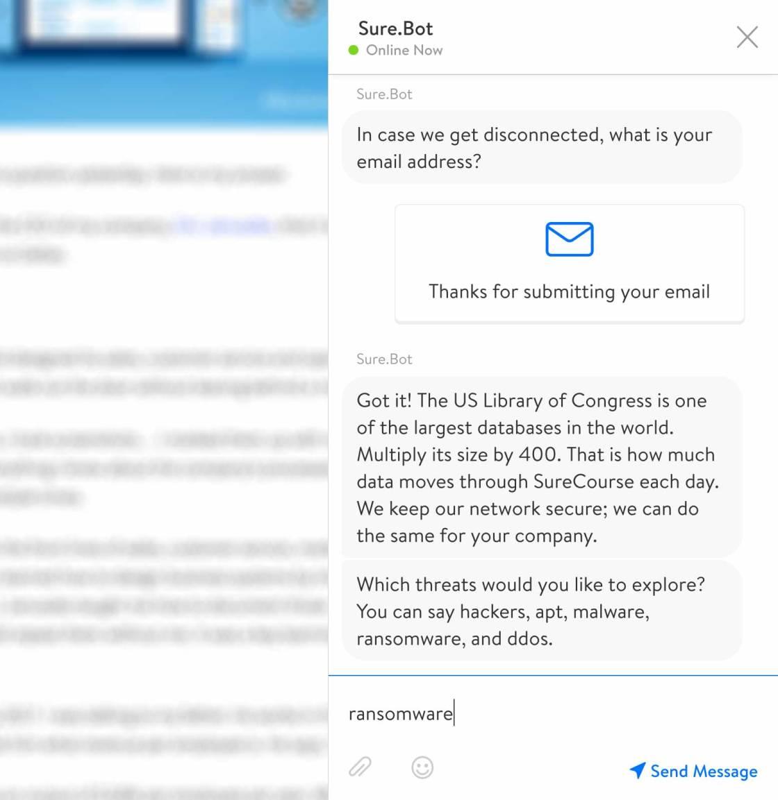 Screenshot. Chatbot communicates your unique selling proposition.