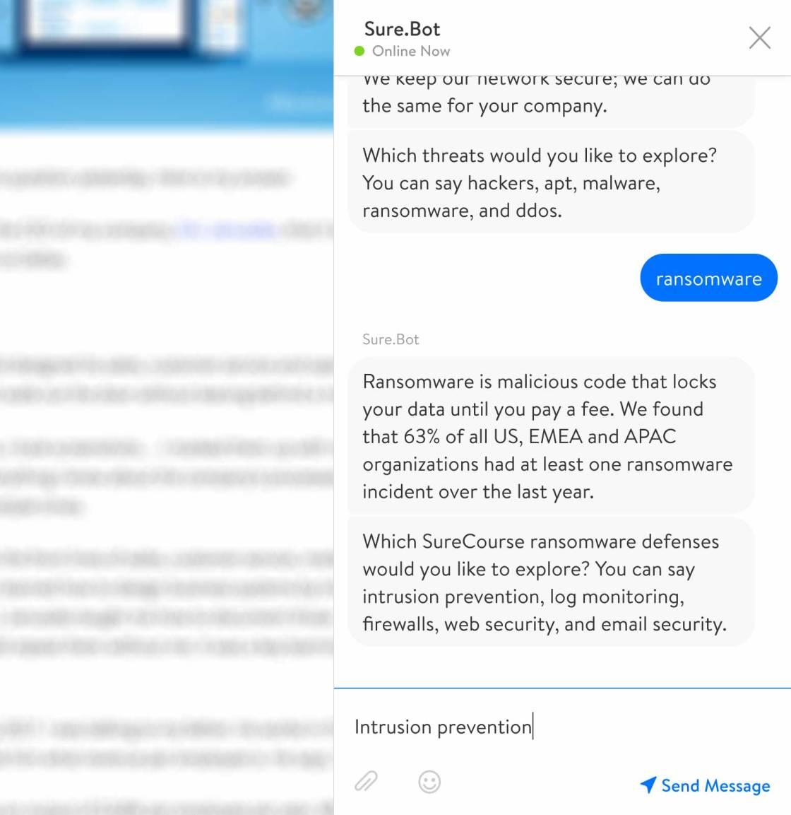 Screenshot. Chatbot introduces business solution.